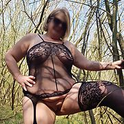 Dirty lady wife strips in the woods