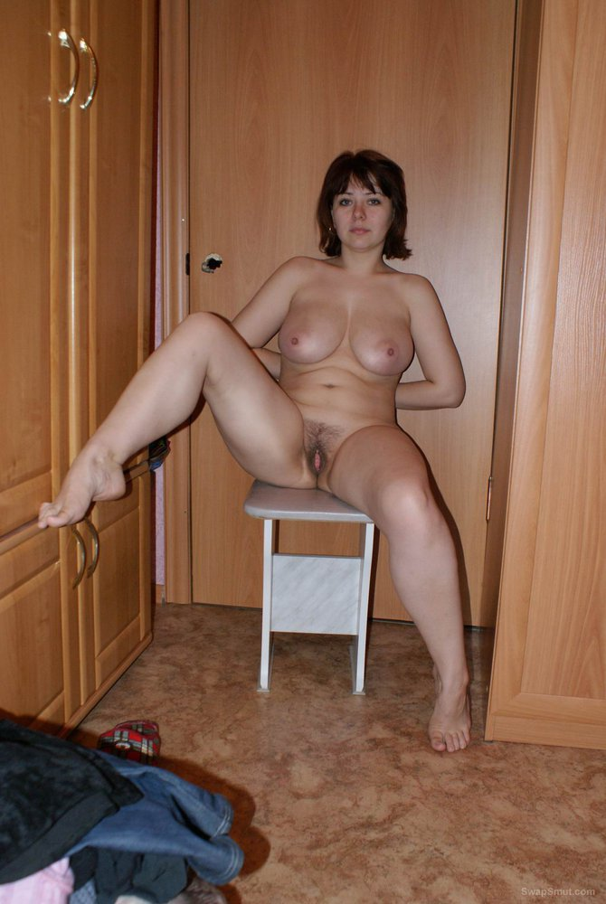 Horny wife in very short dress stripping off to show her tight slit