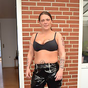 Tina having fun in PVC Catsuit, After photos begged to get pregnant