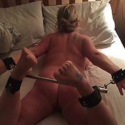 Chubby blonde Sharon naked exposed cunt