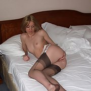 Very sexy blonde wife wearing lingerie