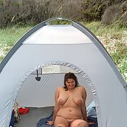 Slut Wife Nude in Public on a beach camping outdoors exposed for all to see