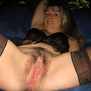Blonde Amateur Wearing Brown Lingerie and Sexy Hairy Gash