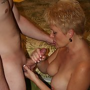 Mature swinger blonde wife sex with multiple partners mouth full cum