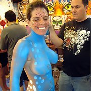 Fantasy Fest FL milf looking for fun topless in public body paint pics