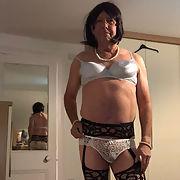 Bryony in white undies, bra, panties, stockings