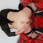 German Crossdresser Bitch in black fishnet-stockings and heels