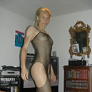Muscular blonde wife flaunting her physique