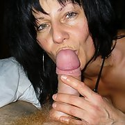 Brunette amateur mature sucking cock and getting cum on her body