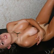 Young babe Oiled with Tan Lines