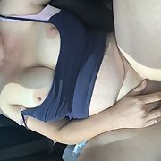 Hot times in the car my wife rubbing and showing her pussy