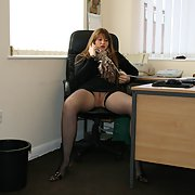 Office secretary with a couple of gaping holes