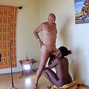 Pornstar Cane showing an interracial porn action