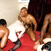 Swinger white wives interracial gang bang with blacks at party