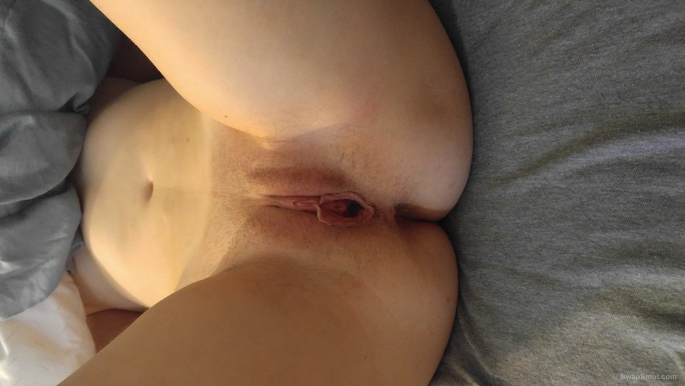 Wife showing used pussy and sucking
