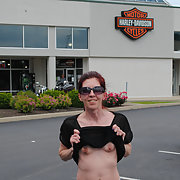 My little sexy wife flashing her tits at some landmarks and dealership