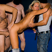 Mature whore getting it all ways hard at a gangbang