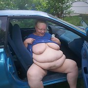 BBW flashing exhibitionist pics outside around the car exposing myself