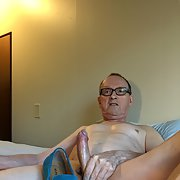 Exposed Faggot Pervert Slut Admires Blue Suede Shoes While Naked