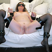 Bondage babe awaits cock insertion restrained on bed waiting
