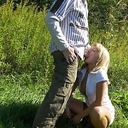 sexy milf sucking cock outdoors and inside