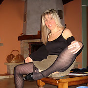 Sylvie Looks Very Hot Wearing Black Stockings and Undies