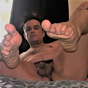 Naked kinky chub showing sweaty feet, hole, and tiny dick