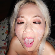Horny blonde wife sex in High Heels face covered with cum