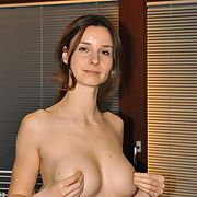Brunette wife with perfect tits topless and nude