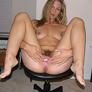 Amateur blonde wife with a lovely hairy pussy