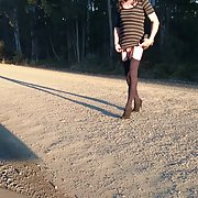 Country road walk - cross dress pencil skirt
