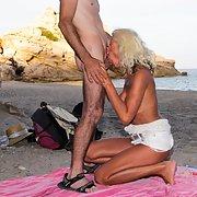 Big tit blonde mature milf beach sex and deep throat