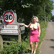 Barby in her own village naked flashing her bits and bobs in public