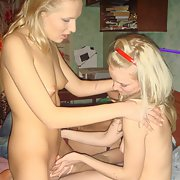 Cute blonde threesome with her bisexual friend
