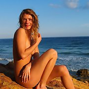 Newly wed friend naked on her honey moon at the beach in public