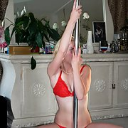 A weekend away with the girls having fun with a pole dancer