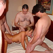 MILF Gangbang party with several guys and a hot wife
