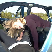 A slutty wife and her horny friends having sex in open top car