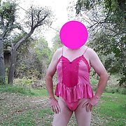 Pretty in Pink Fun at the Park Male Amateur Cross Dresser
