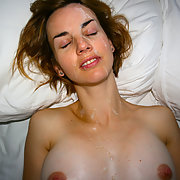Cum drenched amateur wife face covered with sticky spunk