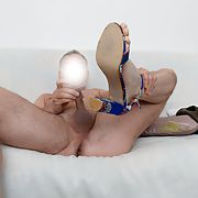 Playing my new shoes and little dick