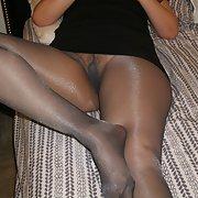 My wife in black nylon pantyhose