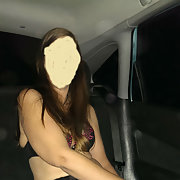 My sexy girlfriend having some fun in the car dressing up
