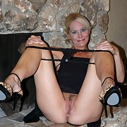 Blonde milf spreads her legs open nice pussy and hot mom whore