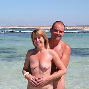 Nudist blonde milf on holiday island