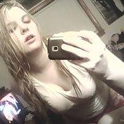 Caitie posing in wet tank-top self shot pictures