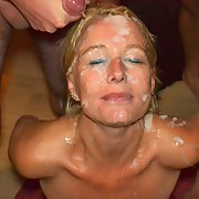 Mature blonde bitch gets all the sperm of her lovers on your face