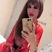 Sexy tranny escort in HK likes lingerie