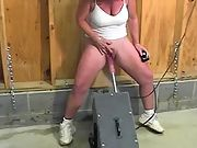 Insatiable woman pleased by a sex machine