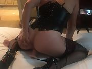 Fucking my dildo in high heels, stockings, and lingerie